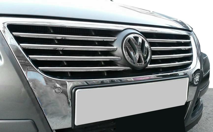 VW Passat В6 Накладки на решетку радиатора (нерж.) Кармос / Накладки на решетку Фольксваген Пассат Б6