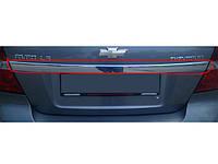 Задняя планка (нерж.) Chevrolet Aveo T250 2005-2011 гг. / Накладки на двери Шевроле Авео