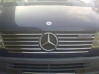 Накладки на решетку радиатора (1995-2000, 12 частей, нерж) Mercedes Sprinter 1995-2006 гг. / Накладки на