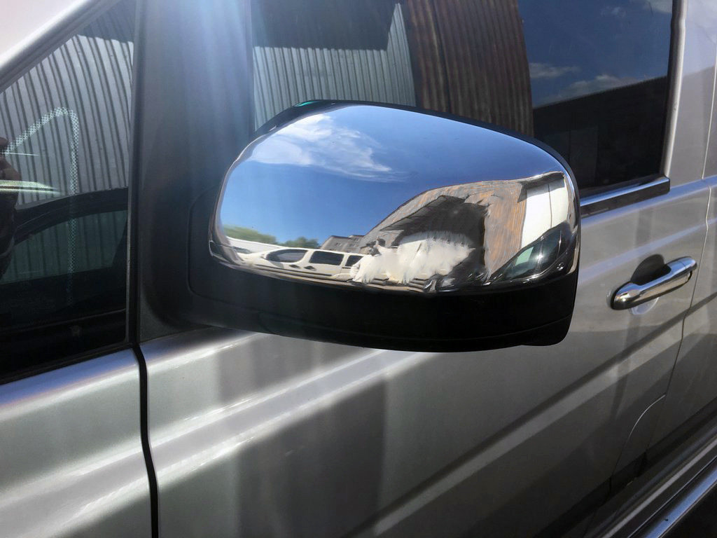 Mercedes Viano 639 2010↗ Накладки на зеркала (сталь) Carmos / Накладки на зеркала Мерседес Бенц Виано