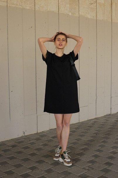 Платье-футболка женское черное цвета бренд ТУР модель Сарина (Sarina) размер  S, M, L L