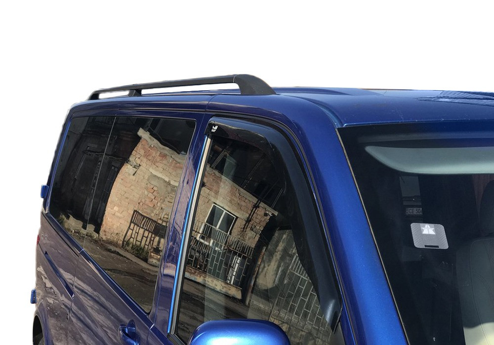 (CAN) Рейлинги черные на VW Т5 Caravelle с пластиковым креплением (алюминий) / Рейлинги Фольксваген Каравелла