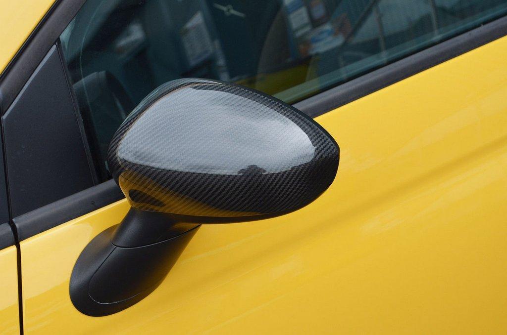 Накладки на зеркала (2 шт, натуральный карбон) Fiat 500/500L / Накладки на зеркала Фиат 500/500L