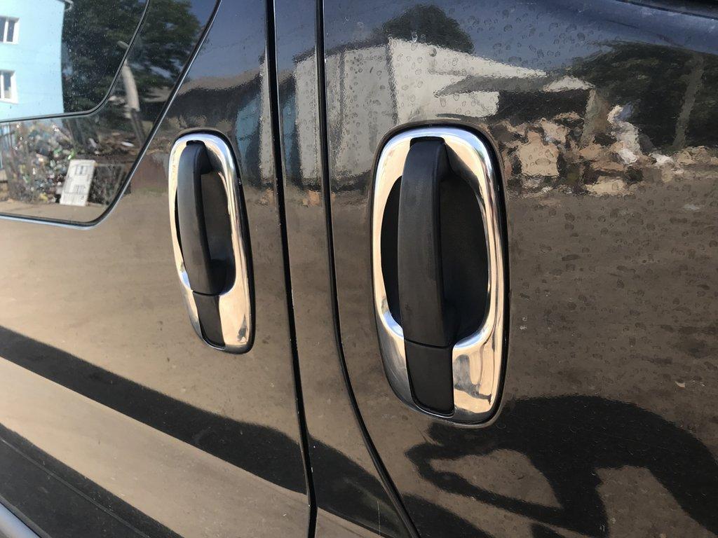 Обводка ручек (4 шт, нерж) Opel Vivaro 2001-2015 гг. / Накладки на ручки Опель Виваро