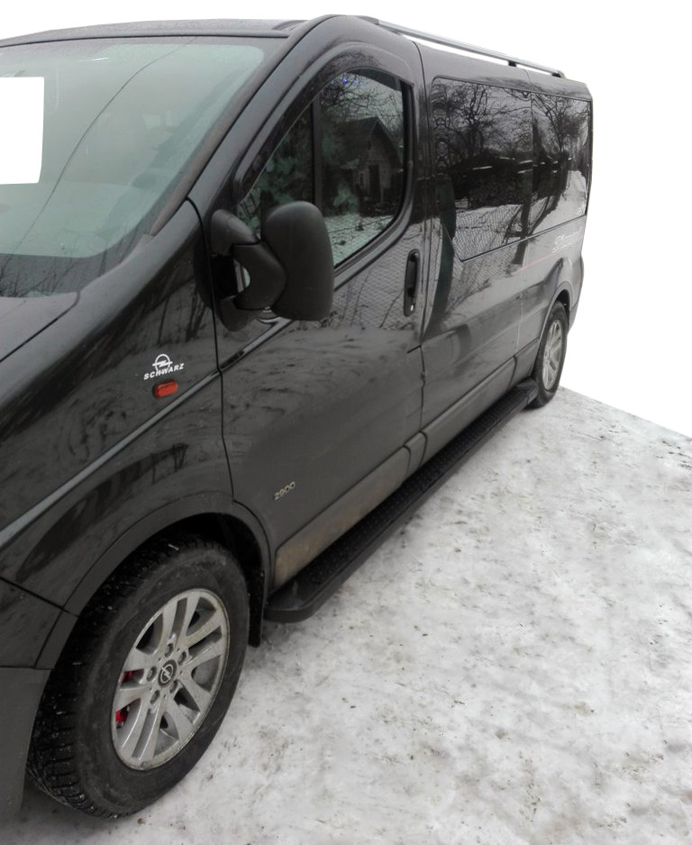 Nissan Primastar Боковые пороги Allmond Black короткая база / Боковые пороги Ниссан Примастар
