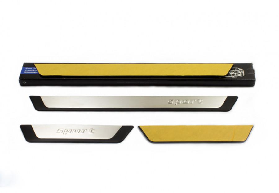 Renault Logan III 2013↗ гг. Накладки на пороги (4 шт) Sport / Накладки на пороги Рено Логан