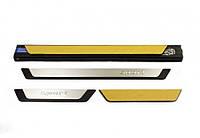 Renault Logan III 2013↗ гг. Накладки на пороги (4 шт) Sport / Накладки на пороги Рено Логан, фото 1