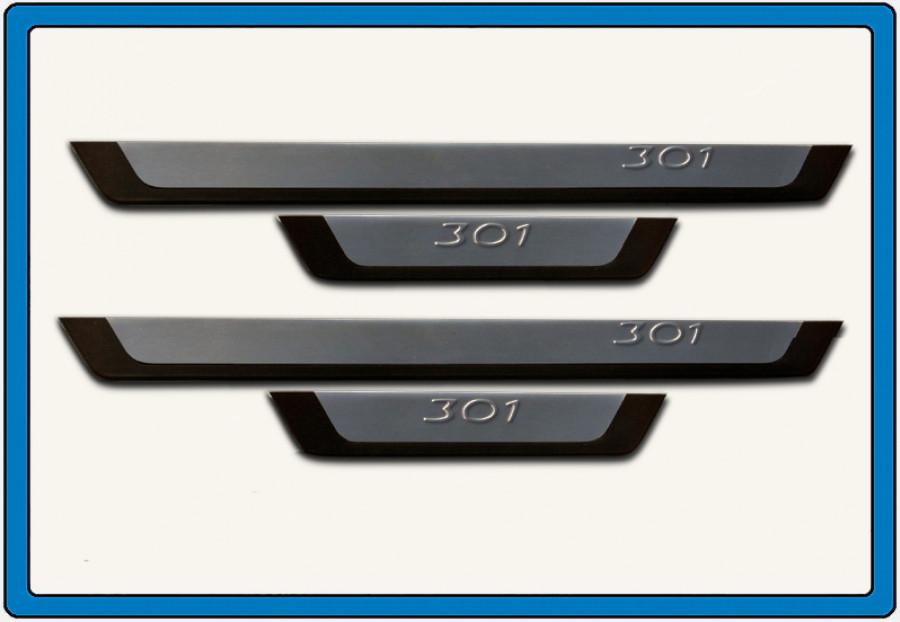 Накладки на пороги Flexill (4 шт, нерж) Peugeot 301 / Накладки на пороги Пежо 301
