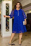 Женское свободное платье с флоком на сетке, нарядное красивое платье большие размеры