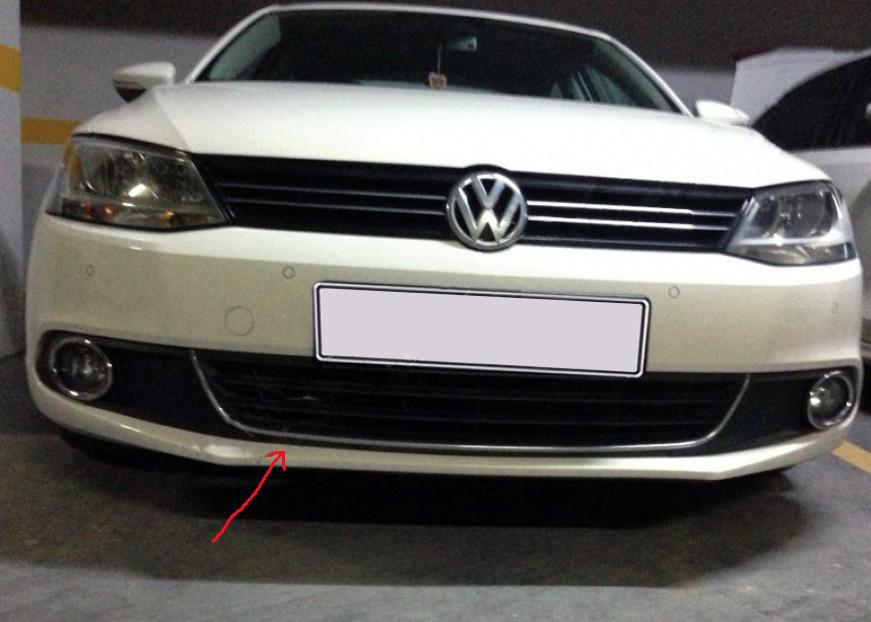 Улыбка на передний бампер U 2011-2014 (нерж) Volkswagen Jetta 2011-2018 гг. / Защитные (хром) накладки на