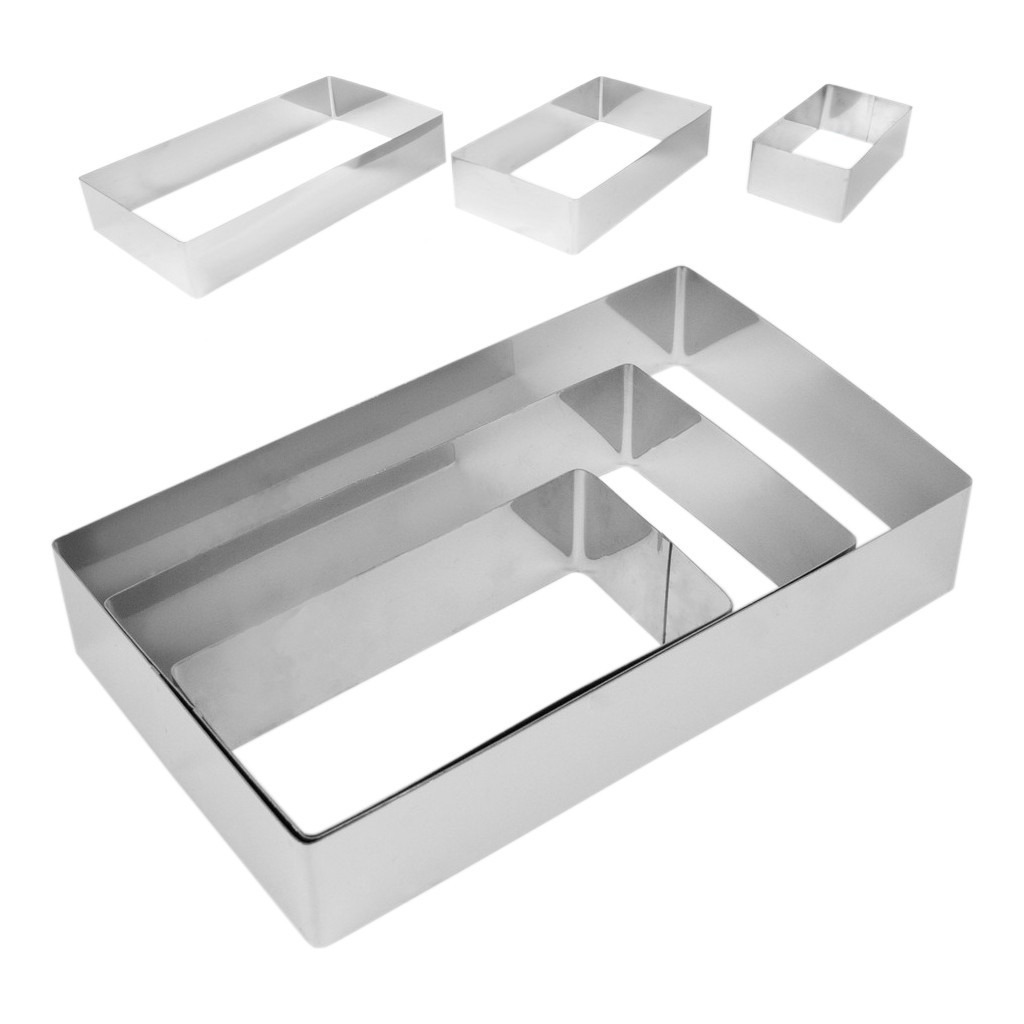 Формы прямоугольные кондитерские в наборе из 3-х штук (15*7,7см/19,8*11,6см/25*15см) h4,5cм