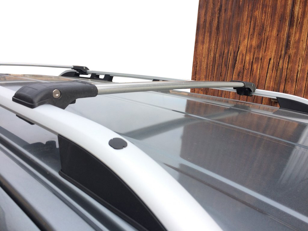 Range Rover Sport 2014↗ Поперечный багажник на рейлинги под ключ Черный / Багажник Ленд ровер