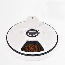 Автоматическая кормушка для кошек и собак электронная Pet Feeder, 30x7 см, 6 порций по 128мл, таймер, мелодия