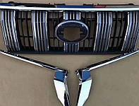 Toyota LC150 Решетка с короткими хром косичками 2017 / Тюнинг решетки Тойота Ленд Крузер Прадо LC 150