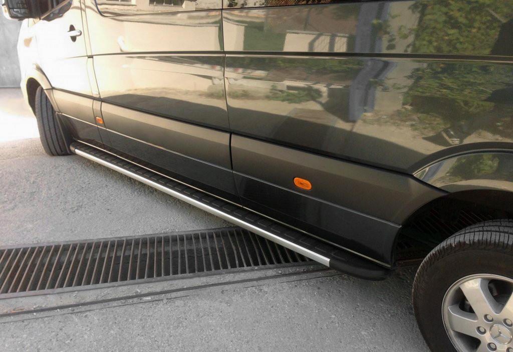 Mercedes Sprinter 2018↗ Боковые подножки Duru на Long i ExtraLong / Боковые пороги Мерседес Бенц Спринтер