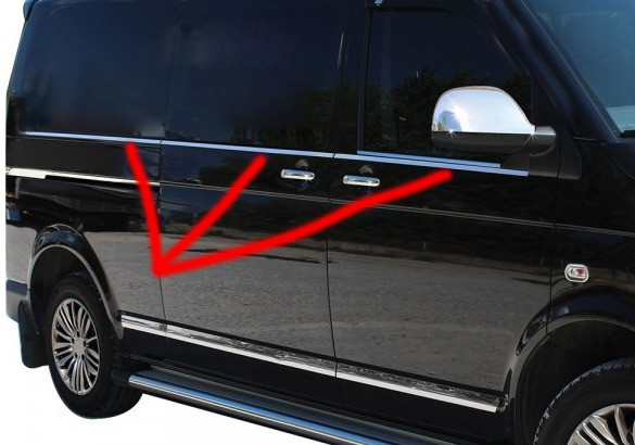 Multivan Т5 Нижняя окантовка стекол (6 частей) короткая база / Накладки на двери Фольксваген Мультивен