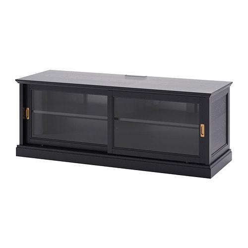 ИКЕА (IKEA) МАЛЬШЁ, 603.277.74, Тумба под ТВ с раздвижными дверцами, черная морилка черная морилка, 160x48x59