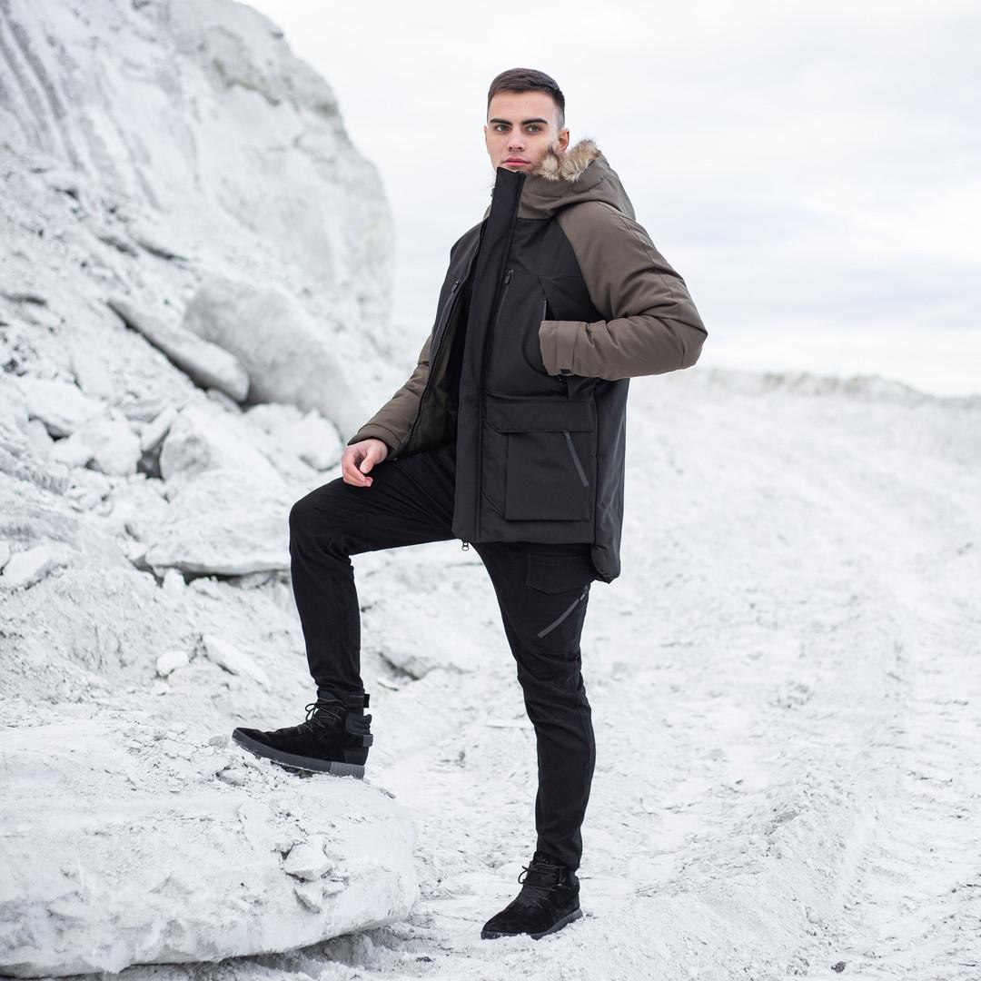 """Очень теплая мужская куртка-парка с опушкой """"Сеньора Удача"""" черная с хаки"""