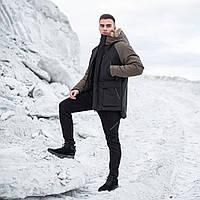 """Очень теплая мужская куртка-парка с опушкой """"Сеньора Удача"""" черная с хаки, фото 1"""