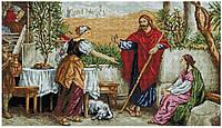 """Набір алмазної мозаїки 40х70 """"Ісус у Марти і Марії"""" SS808"""