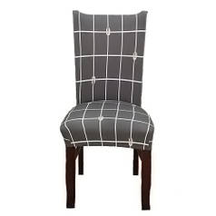 Чехол на стул натяжной Stenson R26292 45х40~65х50 см клетка Grey