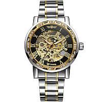 Наручні годинники чоловічі Winner Fashion Diamonds W614 Срібло + Золото + Чорний (4231-12853)
