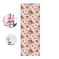 Коврик для фитнеса и йоги Meileer rubb-22 Красные цветы 1830*680*4mm (4815-14081)