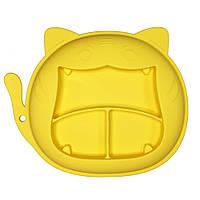 """Силиконовая тарелка """"Кошка"""" (жёлтая)"""