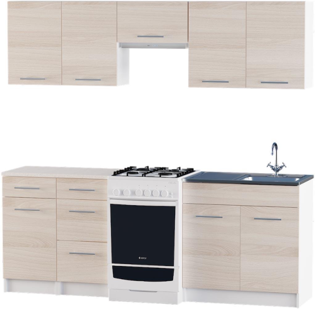 Кухня Эко №3 набор 2.1 м ЭВЕРЕСТ Белый + Шимо светлый, фото 1