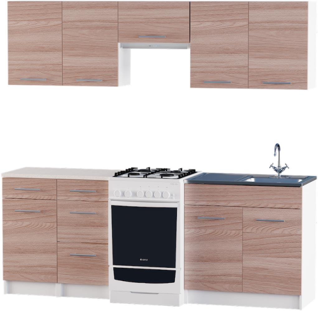 Кухня Эко №3 набор 2.1 м ЭВЕРЕСТ Белый + Шимо светлый, фото 6