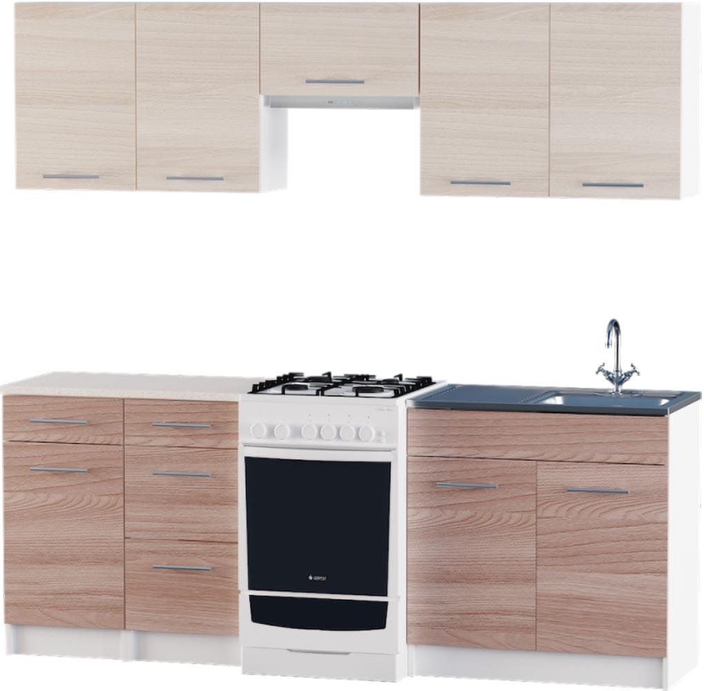 Кухня Эко №3 набор 2.1 м ЭВЕРЕСТ Белый + Шимо светлый, фото 4