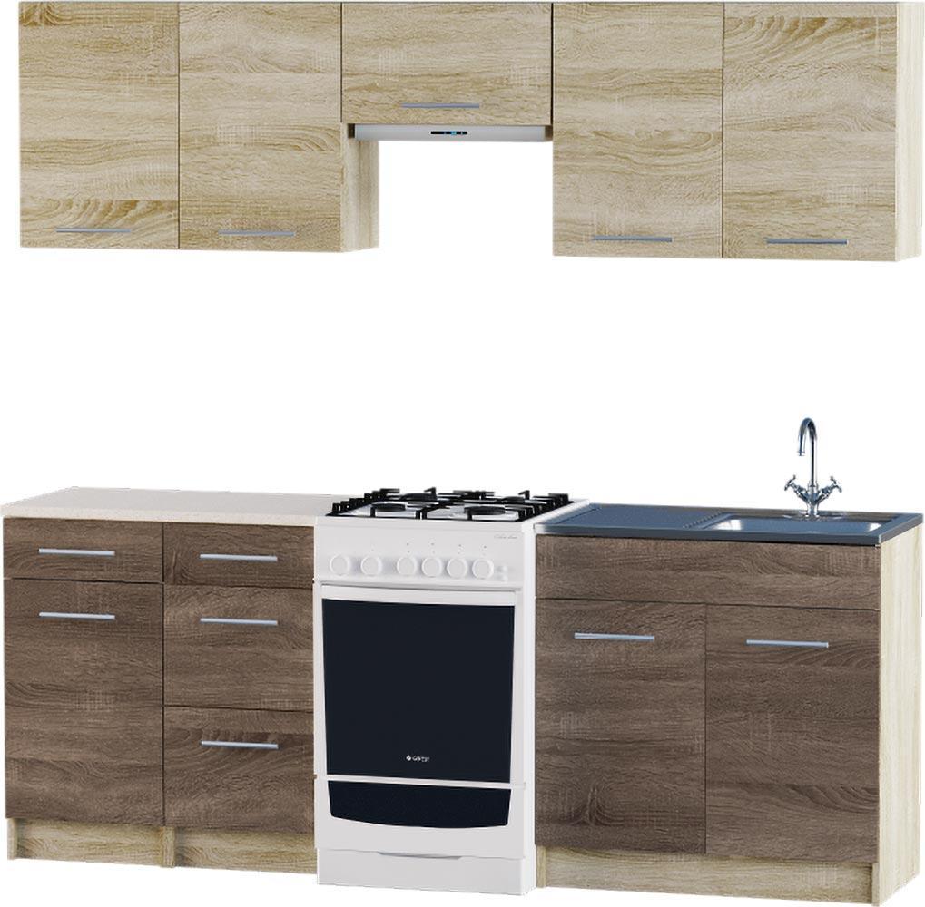Кухня Эко №3 набор 2.1 м ЭВЕРЕСТ Белый + Шимо светлый, фото 5