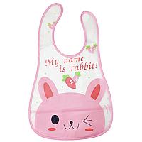 """Слюнявчик клеёнчатый на липучке """"Кролик розовый"""""""