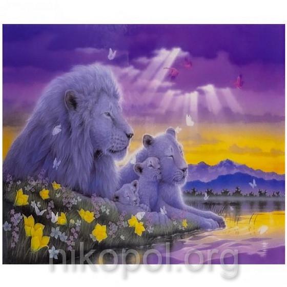 """Картина по номерам """"Белые львы"""" на полотне, большая 400*500мм №30446"""