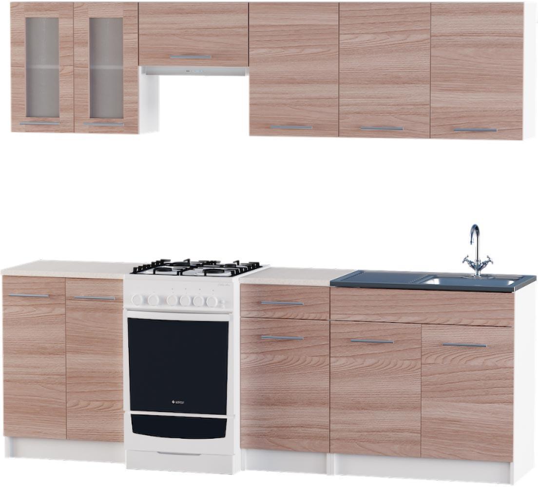 Кухня Эко набор 2.3 м ЭВЕРЕСТ Белый + Шимо светлый, фото 4