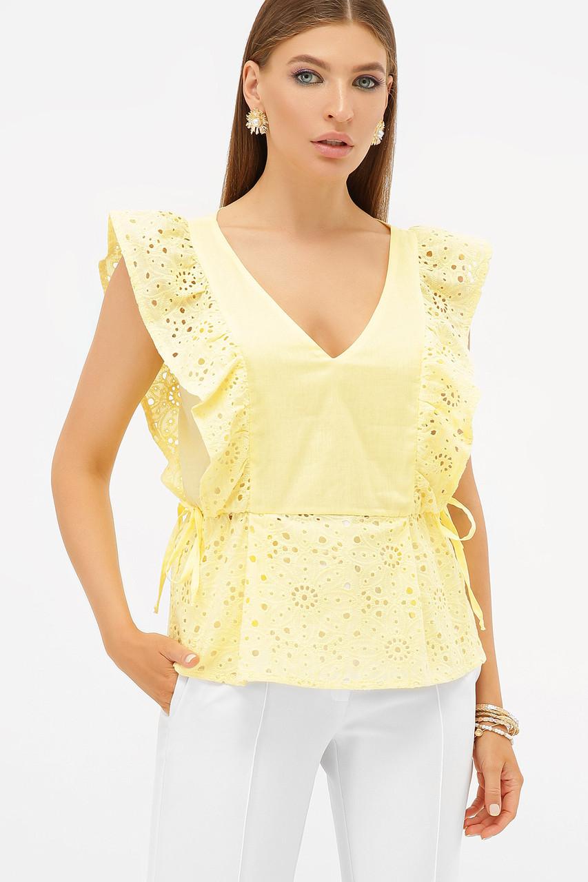 Нежная нарядная воздушная желтая блуза с рюшами без рукавов ажурная Илари б/р