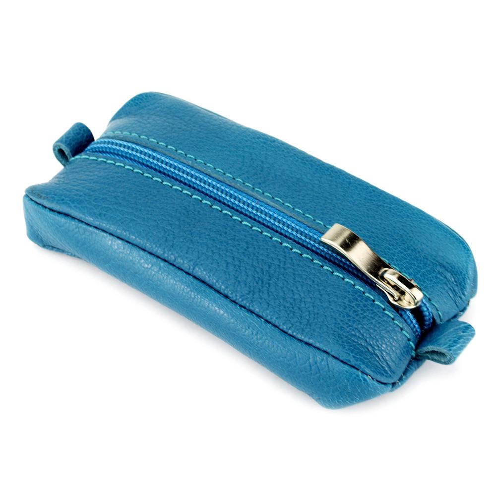 Ключниця шкіряне на блискавці з кільцем блакитна Crez-004 blue