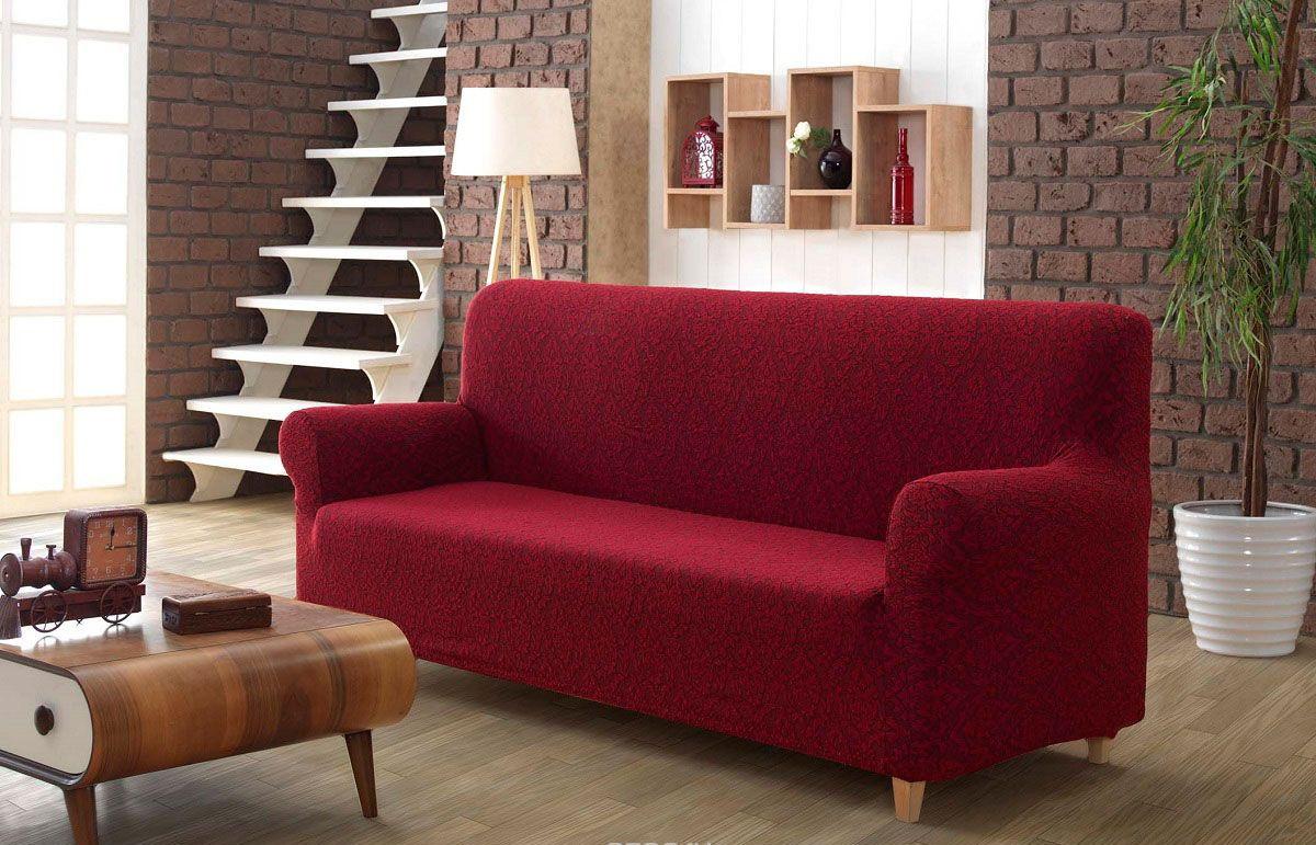 Чохол для дивана ТМ Karna з жакардовим візерунком бордового кольору