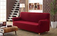 Чохол для дивана ТМ Karna з жакардовим візерунком бордового кольору, фото 1