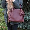 Женская бордовая деловая сумка K15-18/2 на плечо саквояж с бантом