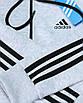 Кофта весна-осень мужская бел меланж ADIDAS с черн лампас с капюш К-103 WHTGRI XL(Р) 21-702-003, фото 6