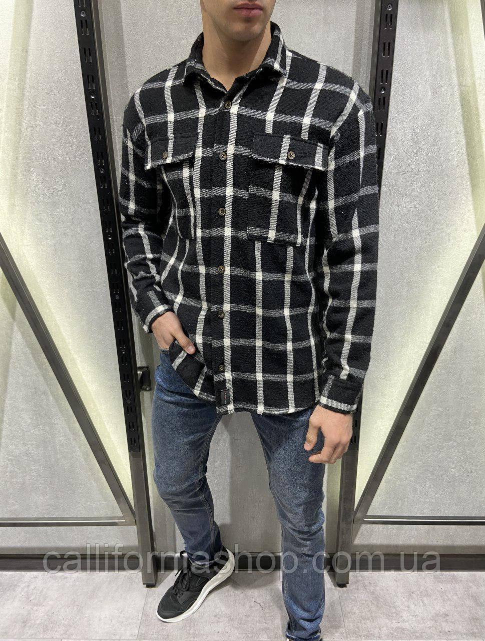 Байковая рубашка мужская черная в клетку на пуговицах теплая, Турция