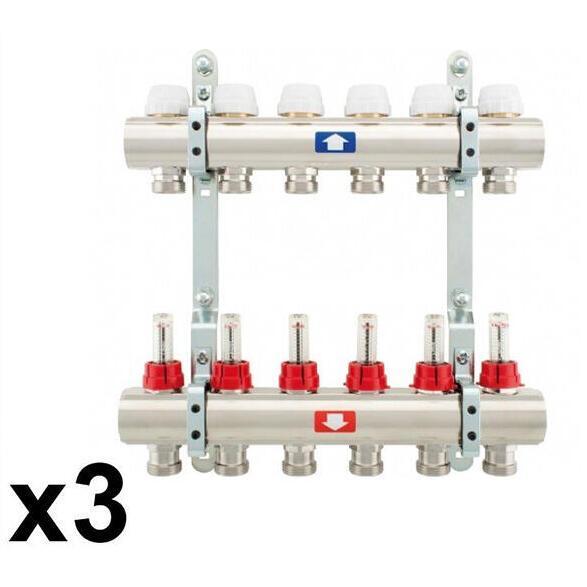 """Коллекторная группа ITAP 915С 1""""x3/4""""с отсекателями и термоклапанами 3 вых."""