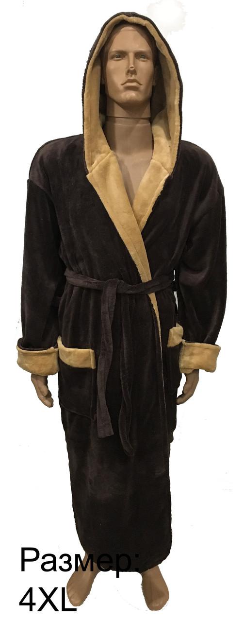 Мужской махровый халат коричнево-бежевый 3XL,4XL