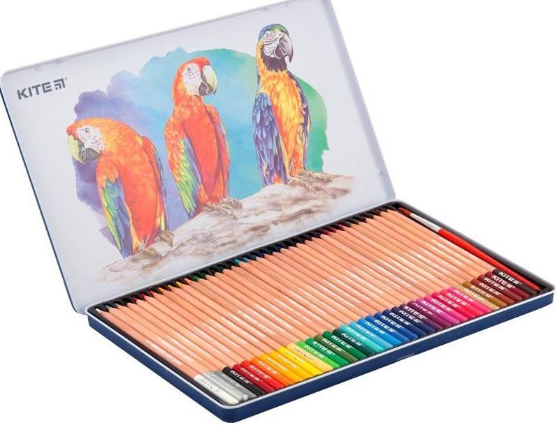 Карандаши акварельные цветные в металлическом пенале Kite 36 цв. (K18-1054)