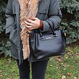 Чорна жіноча молодіжна сумка K34-18/5 саквояж маленькі ручки довгий ремінь через плече, фото 4