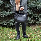 Чорна жіноча молодіжна сумка K34-18/5 саквояж маленькі ручки довгий ремінь через плече, фото 7