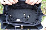 Чорна жіноча молодіжна сумка K34-18/5 саквояж маленькі ручки довгий ремінь через плече, фото 6