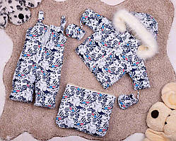 Дитячий зимовий комбінезон трійка з Міккі Маусом для дівчаток від 0 до 2-х років