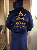 Mахровый халат с именной вышивкой и капюшоном